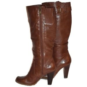 Guess brown leather boots stacked heels womens 7M